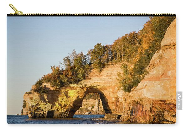 Trees On Cliff, Lake Superior, Pictured Carry-all Pouch