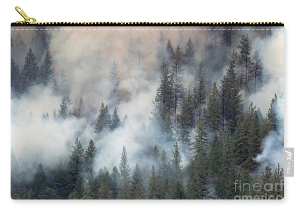 Carry-all Pouch featuring the photograph Beaver Fire Trees Swimming In Smoke by Bill Gabbert