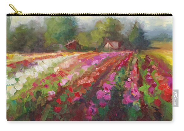 Carry-all Pouch featuring the painting Trespassing Dahlia Field Landscape by Talya Johnson