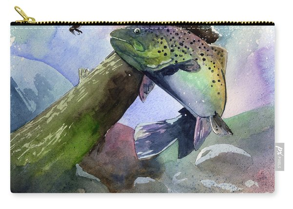 Trout And Fly Carry-all Pouch