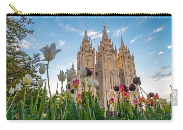 Carry-all Pouch featuring the photograph Tulips At The Temple by Dustin  LeFevre