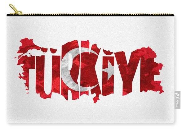 Turkey Typographic Map Flag Carry-all Pouch