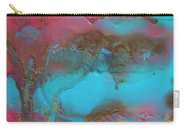 Turquoise And Pink Abstract Painting Carry-all Pouch