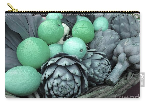 Turquoise Artichokes Lemons And Oranges Carry-all Pouch