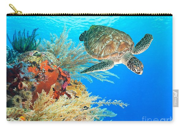 Turtle And Coral Carry-all Pouch