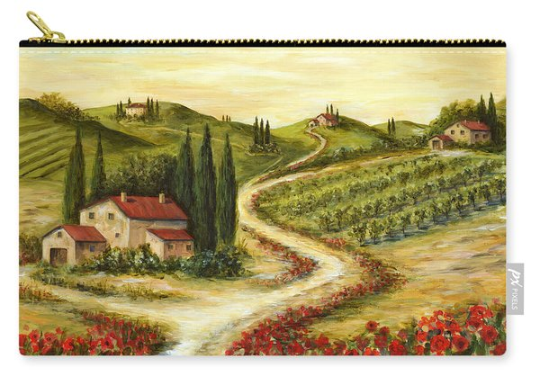 Tuscan Road With Poppies Carry-all Pouch
