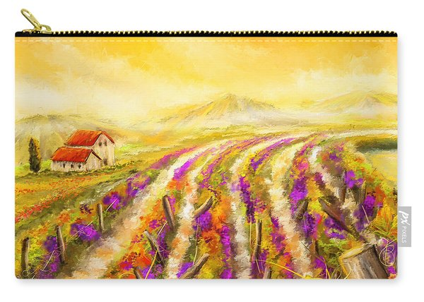 Tuscan Vineyard Sunset - Vineyard Impressionist Paintings Carry-all Pouch