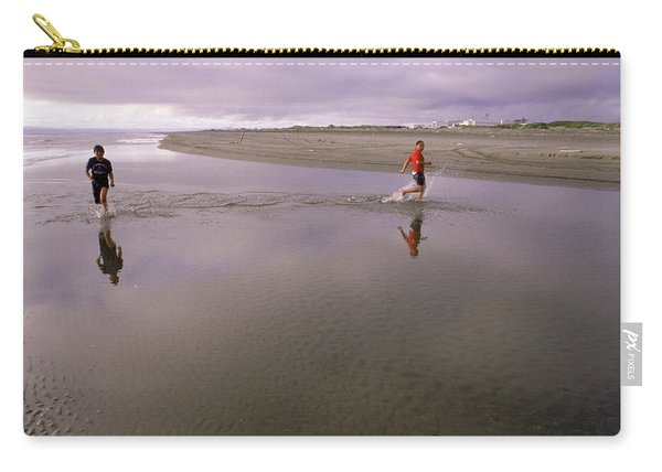 Two Boys Playing In The Ocean, Wales Carry-all Pouch