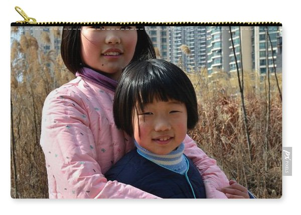 Two Chinese Teen Sisters Hug  And Embrace Shanghai China Carry-all Pouch