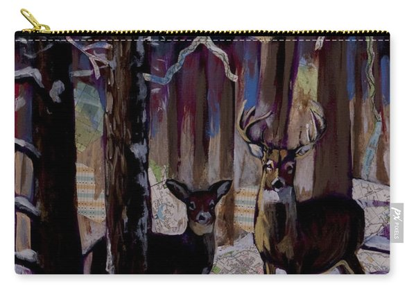 Two Deer In Snow In Woods Carry-all Pouch