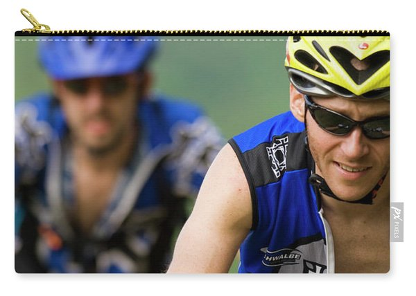 Two Mountain Bike Racers Ride Carry-all Pouch