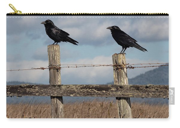 Two Ravens On A Fence Carry-all Pouch