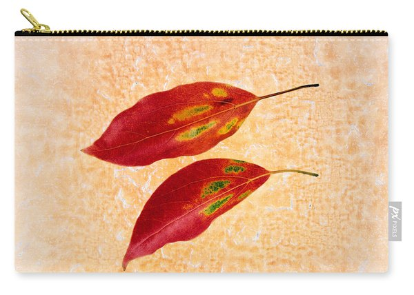 Two Red Leaves On Pink Background Carry-all Pouch