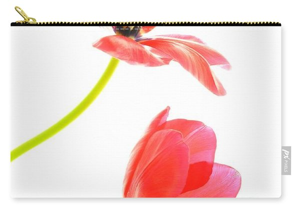 Two Red Transparent Flowers Carry-all Pouch