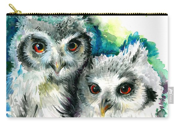 Two Sisters - Polar Owl Offsprings Carry-all Pouch