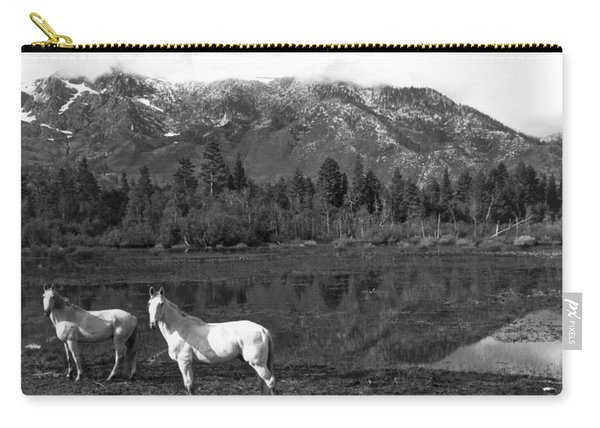 Two White Horses By A Pond Carry-all Pouch