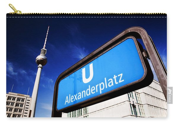Ubahn Alexanderplatz Sign And Television Tower Berlin Germany Carry-all Pouch