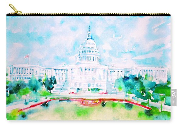 United States Capitol - Watercolor Portrait Carry-all Pouch