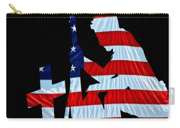 A Time To Remember United States Flag With Kneeling Soldier Silhouette Carry-all Pouch