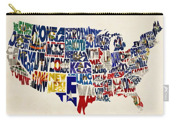 United States Flags Map Carry-all Pouch