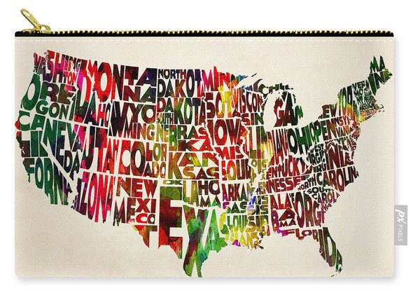 United States Watercolor Map Carry-all Pouch
