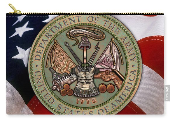 U. S. Army Bronze Seal Over American Flag. Carry-all Pouch