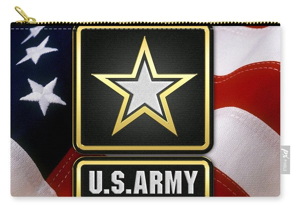 U. S. Army Logo Over American Flag. Carry-all Pouch