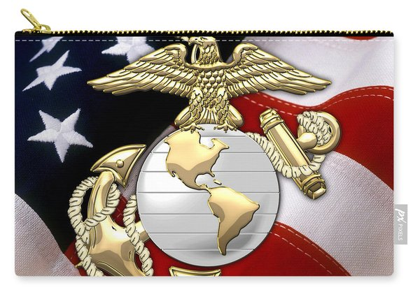 U. S. Marine Corps - U S M C Eagle Globe And Anchor Over American Flag. Carry-all Pouch