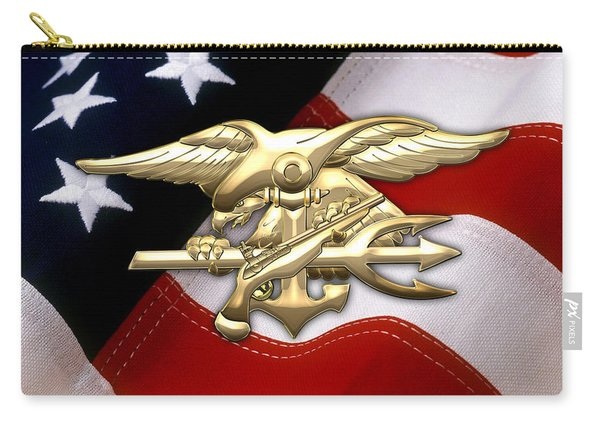 U. S. Navy S E A Ls Emblem Over American Flag Carry-all Pouch