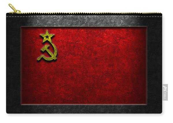 Ussr Flag Stone Texture Carry-all Pouch