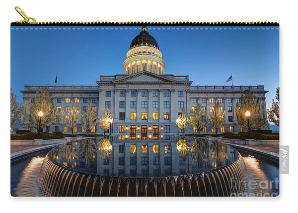 Utah State Capitol In Reflecting Fountain At Dusk Carry-all Pouch