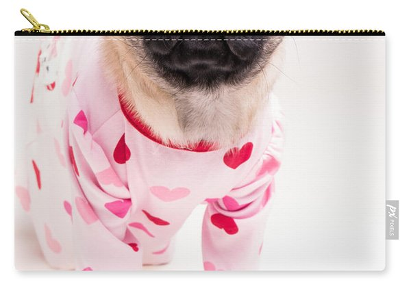 Valentine's Day - Adorable Pug Puppy In Pajamas Carry-all Pouch