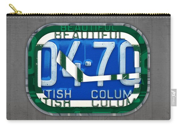Vancouver Canucks Hockey Team Retro Logo Vintage Recycled British Columbia Canada License Plate Art Carry-all Pouch