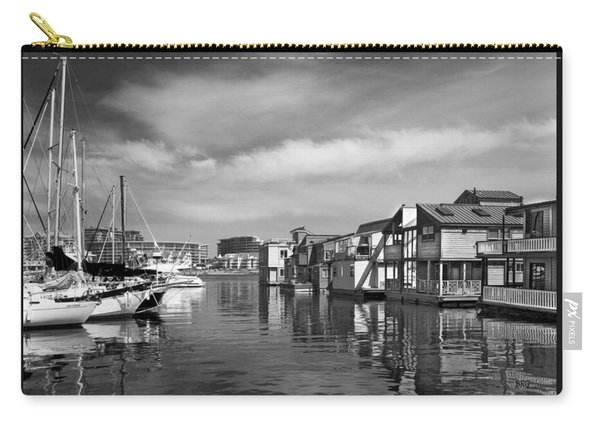 Veiw Of Marina In Victoria British Columbia Black And White Carry-all Pouch