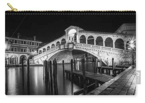 Venice Rialto Bridge At Night Black And White Carry-all Pouch