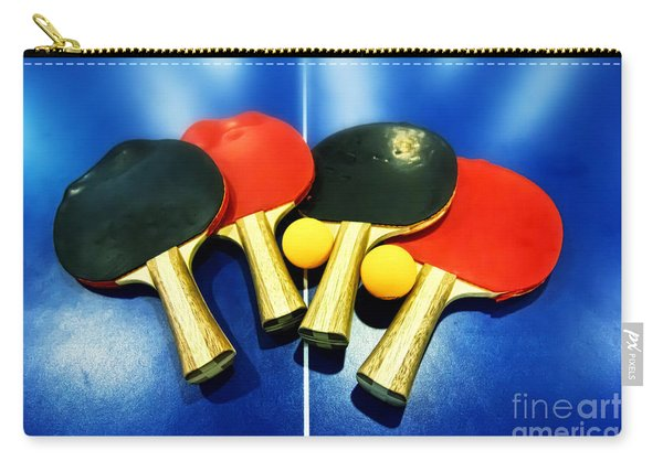 Vibrant Ping-pong Bats Table Tennis Paddles Rackets On Blue Carry-all Pouch