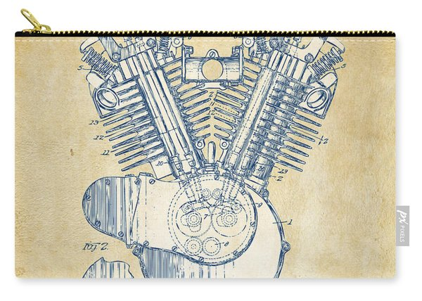 Vintage 1923 Harley Engine Patent Artwork Carry-all Pouch