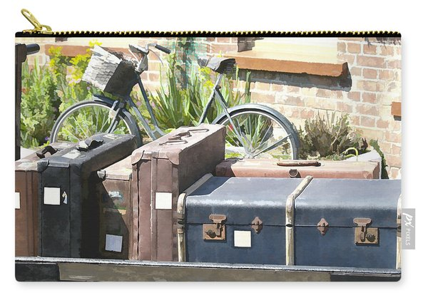 Carry-all Pouch featuring the photograph Painted Effect - Vintage Luggage by Susan Leonard