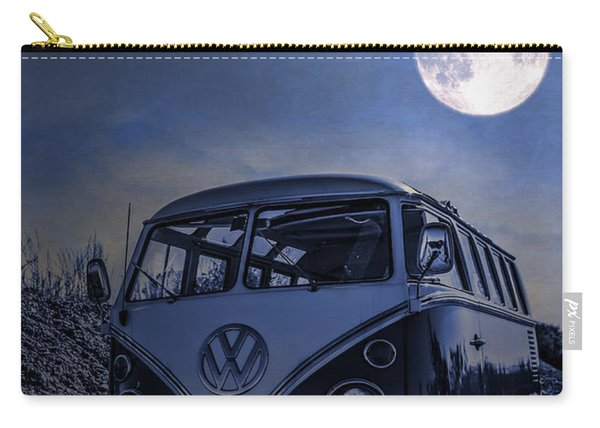 Vintage Vw Bus Parked At The Beach Under The Moonlight Carry-all Pouch