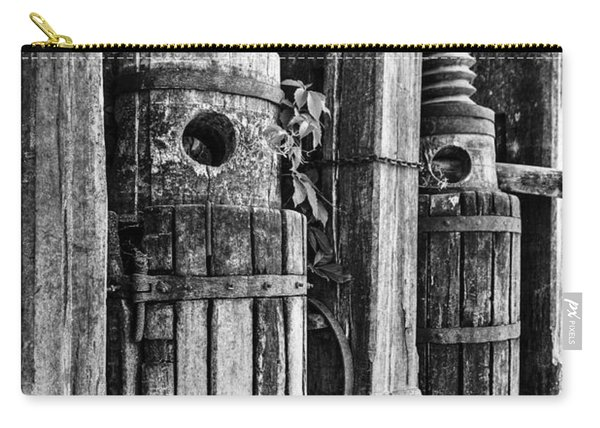 Vintage Wine Press Bw Carry-all Pouch