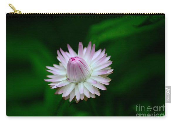 Violet And White Flower Sepals And Bud Carry-all Pouch