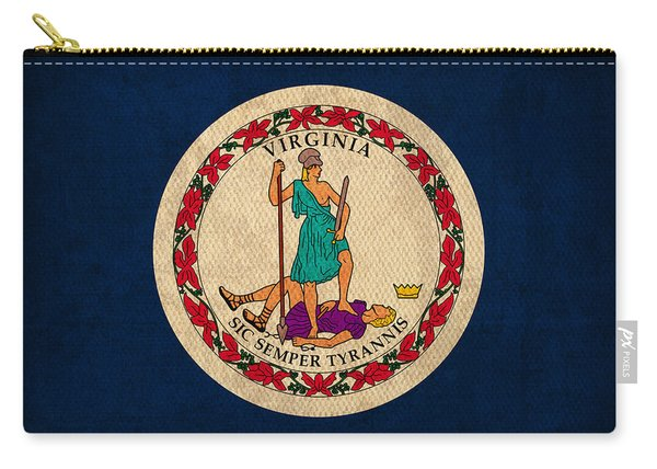 Virginia State Flag Art On Worn Canvas Carry-all Pouch