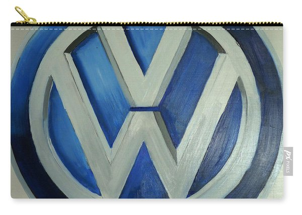 Carry-all Pouch featuring the painting Vw Logo Blue by Richard Le Page