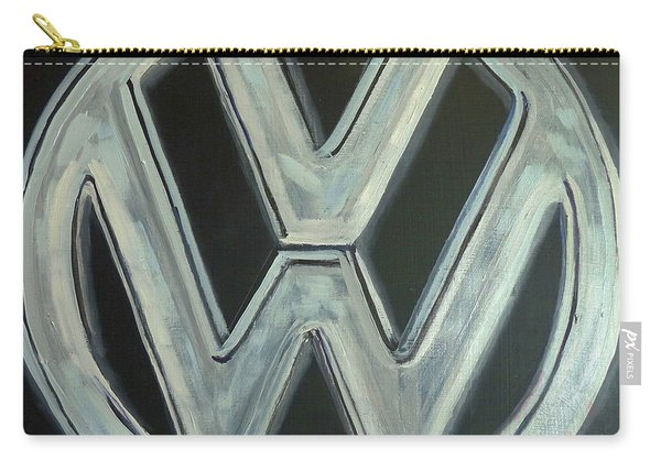 Carry-all Pouch featuring the painting Vw Logo Chrome by Richard Le Page