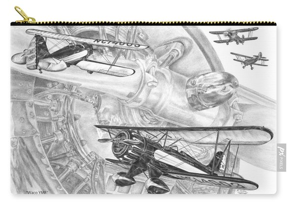 Waco Ymf - Vintage Biplane Aviation Art Carry-all Pouch