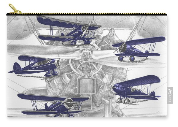 Wacos - Vintage Biplane Aviation Art With Color Carry-all Pouch
