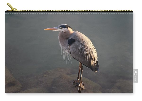 Carry-all Pouch featuring the photograph Waiting Heron by Christy Pooschke