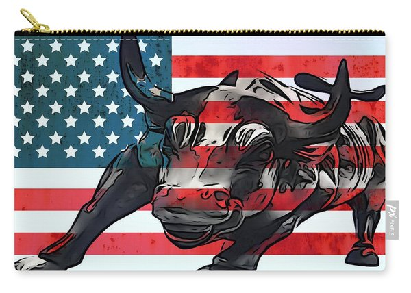 Wall Street Bull American Flag Carry-all Pouch
