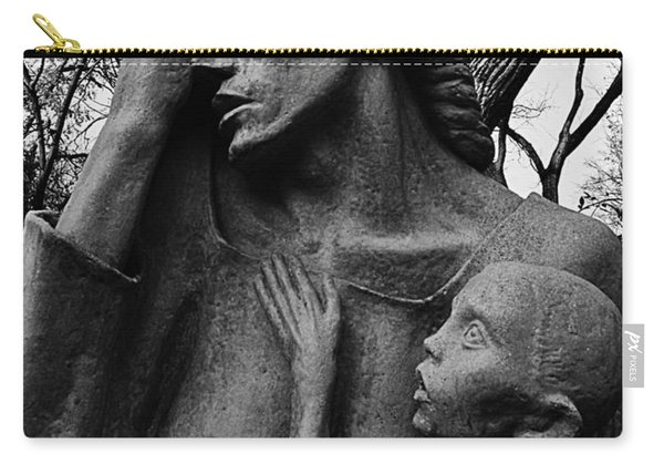 War Mother By Charles Umlauf In Black And White Carry-all Pouch