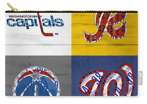 Washington Dc Sports Fan Recycled Vintage License Plate Art Capitals Redskins Wizards Nationals Carry-all Pouch
